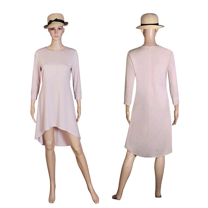Fashion Women Dresses 2017 Sexy Loose Mini Irregular O-Neck Dress Summer Casual Elegant Dresses Plus Size LJ8789X 6