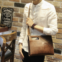 Hot sale fashion crazy horse PU leather men bags small shoulder bag men messenger bag crossbody leisure bag ipad handbag brown