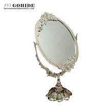 Gohide Luxury Fashion Home Decoration Double Faced Mirror Silver Dressing Makeup Table Mirror Oval Laciness Metal Mirror