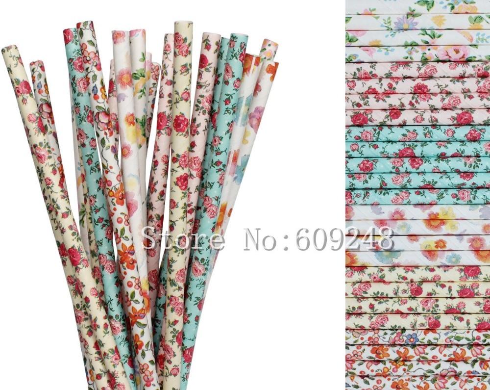 Bulk organic tea - 150pcs Floral Drinking Paper Straws Mix Colorful Flower Printed Wedding Garden Tea Party Vintage Bridal Shower Decorations Bulk