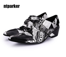 ntparker YBig Size EU38-46!Rock Personality Paper Pattern Design Man Shoes Height Increased Man Dress Lteather Shoes, Free Ship!