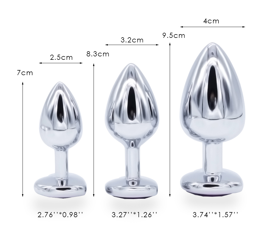 DOMI 3PCS Anal Beads Crystal Jewelry Heart Butt Plug Stimulator Sex Toys Dildo Stainless Steel Anal Plug 4