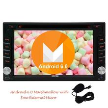 Android 6.0 Car dvd Stereo Double 2 Din Capacitive Screen Car DVD Player In Dash GPS Navigation WiFi Mirrorlink + External Micro(China)