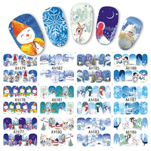 1 sheet Winter Snowman Snowflake Designs Water Transfer Nail Sticker Nail Art Decorations Manicure Tools Decal JIA1177-1188(China)