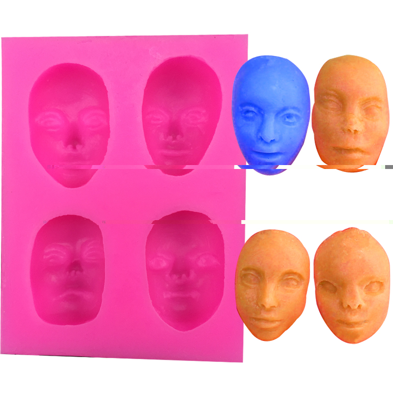 Free shipping 4 form different masks silicone mold cooking mold fondant cake decorating tool soap mold F0056(China)
