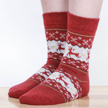 Lady Girl New Xmas Christmas Snow flake Deer Design Womens Warm Wool Socks Gifts