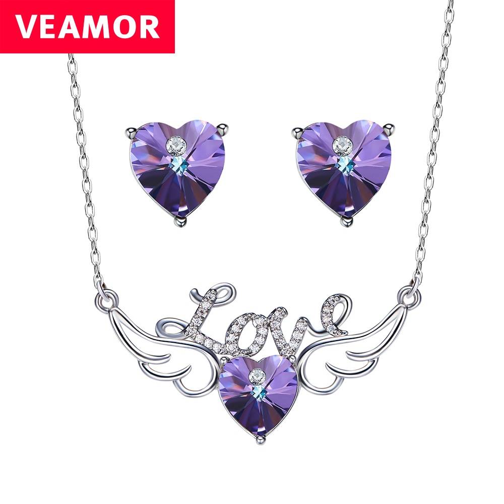 Veamor 2017 Wing Love Heart Pendant Necklace Piercing Earrings Jewelry Sets For Women Anniversary Gifts Crystals From SWAROVSKI(China)