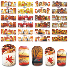 20174 NEW 12 Design in One Set New Full Cover Wrap Nail Art Water Transfer Sticker Autumn Design Manicure Nail Tip BEBN505-516