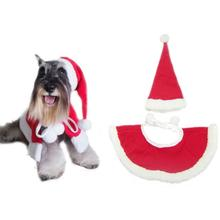 New Durable Red Hat & Shawl Christmas Clothes For Dog Pet Santa Claus Costume Dress Up Kerst Christmas Decor Dog Clothes