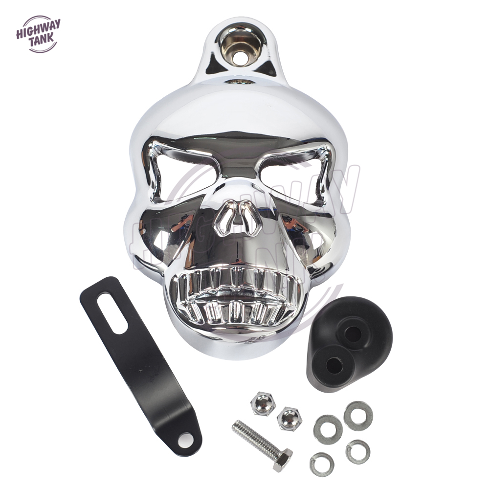 Black Motorcycle accessories Skull Horn Cover Cowbell case for Harley Davidson Dyna Glide Fat Bob Street Bob 1992-2013<br>
