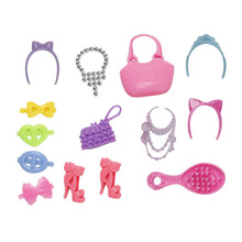 Wholesale 14 Pcs/Lot Lovely Doll Bag Headwear Shoes Necklace Blister Toy for Barbies Plastic Accessiries for Barbie Dolls