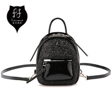 FULANPERS Women Mini Glitter Backpack Female Small Leather Black Bag Stylish Back Pack Backpacks for Teenagers Girls School Bags(China)
