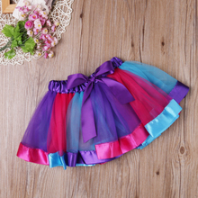 Lovely Kids Toddler Baby Girls Skirt Rainbow Tulle Tutu Party Ballet Dance Ball Gown
