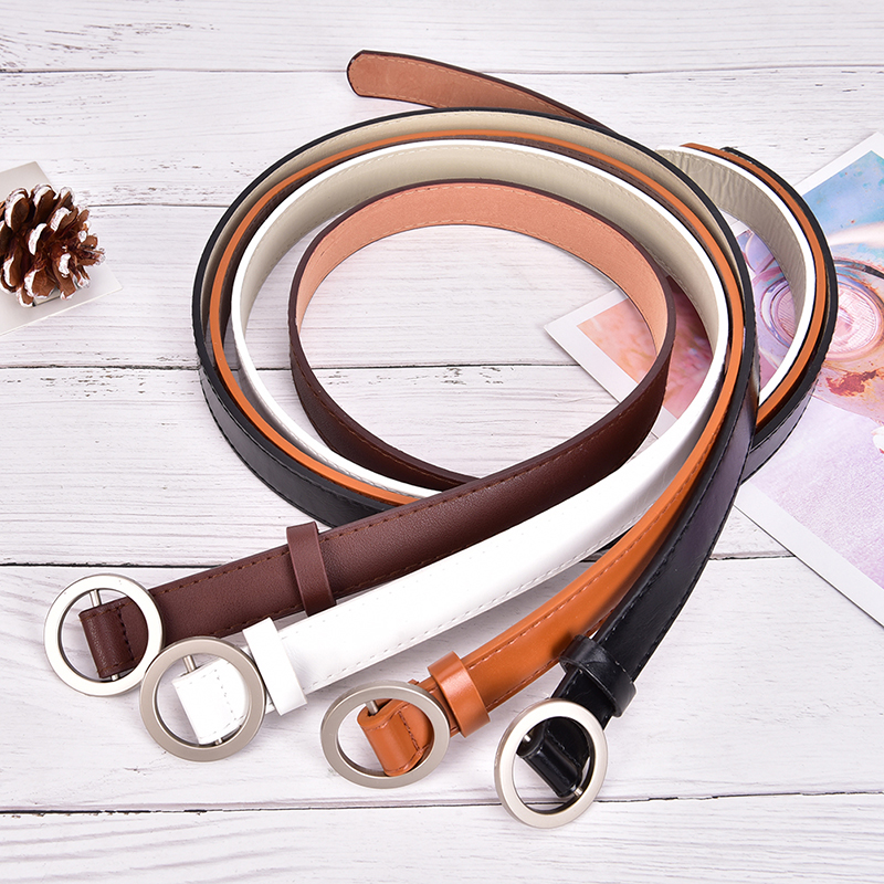 Female Circle Pin Buckles Belt HOT Fashion Buckle Jeans Belts For Women Students Simple Casual Trousers 4colors