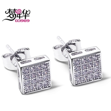 DreamCarnival 1989 Square Button CZ Stud Earrings for Women Deluxe Boucles d'oreilles Party Jewels brinco feminino zirconia luxo(China)