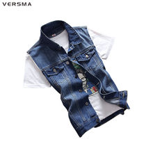 VERSMA Blue Jeans Vest Mens Waistcoats Vests of Men Denim Sleeveless Jacket Men Vest Denim Motorcycle Vest Men Jacket Coat XXXL