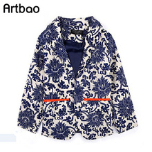 Artbao children boys blue and white porcelain flower print single-breasted boy blazer jacket chinses style little boys jackets