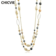 CHICVIE Natural Stone Love Bead Necklaces for Woman Gold Color Chain Statement Vintage Accessories Ethnic Jewelry New Bijouterie