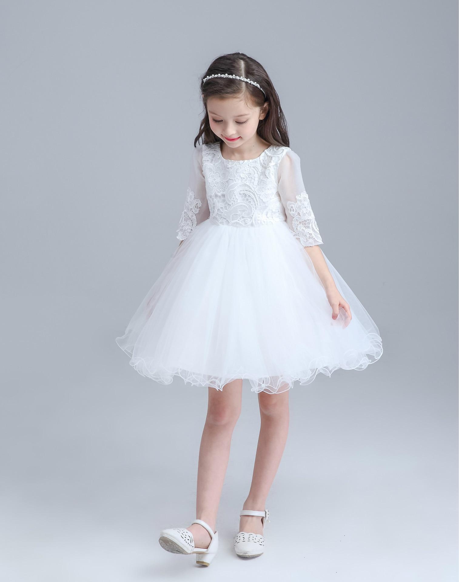 2016 Girls Summer Dress Kids Girls White Wedding Birthday Costume Flower Girl Dresses with Big Bow Teenage Ball Gowns<br>