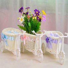 2017 New pink Bike Rattan Vase Basket Flower Bowknot Flower Vase Flowerpot Container Pink, Blue,Purple Classic Decorative flower