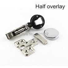 1 Pair Half overlay Hydraulic Glass Cabinet Door Hinge Soft Close Buffering Clip-on With Round Cap