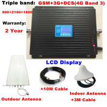 Tri Band GSM 900 1800 2100MHz 2G 3G 4G cell phone signal repeater + log-periodic +ceiling antenna+cable +adapter for Europe