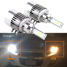 2x All in one Design H15 LED Headlight Bulb Conversion Kits 72W 7600LM 6000K White with Built-in Driver Hi/Lo Beam DRL Lighting