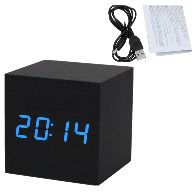 Black Wooden LED Alarm Clock + USB Cable Sounds Control LED Display Electronic Desktop Digital Table Clocks Wholesale 30JY20(China (Mainland))
