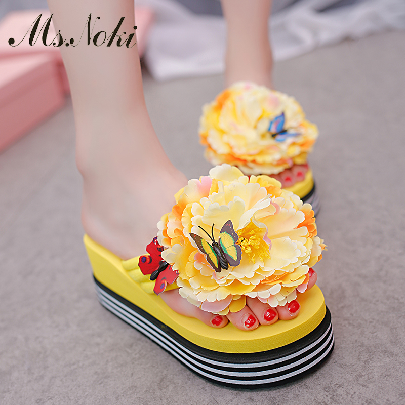 Ms. Noki 2017 New Casual flower Beachshoes Non-slip Rainbow Platform Wedges Women Sandale High Heel Summer Beach Shoes Sandals<br><br>Aliexpress
