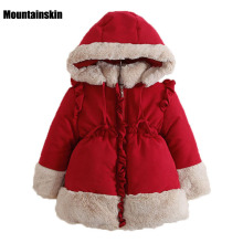 New Coats Girls Winter Jackets Kids Cotton-Padded Parkas 1-7Y Children's Hooded Outerwear Baby Girls Brand Fashion Clothes SC724