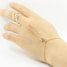 imixlot New V Shape Finger Hand Chain Harness Slave Gold Crystal Charm Bracelet Bangles for Women Fashion Jewelry(China)