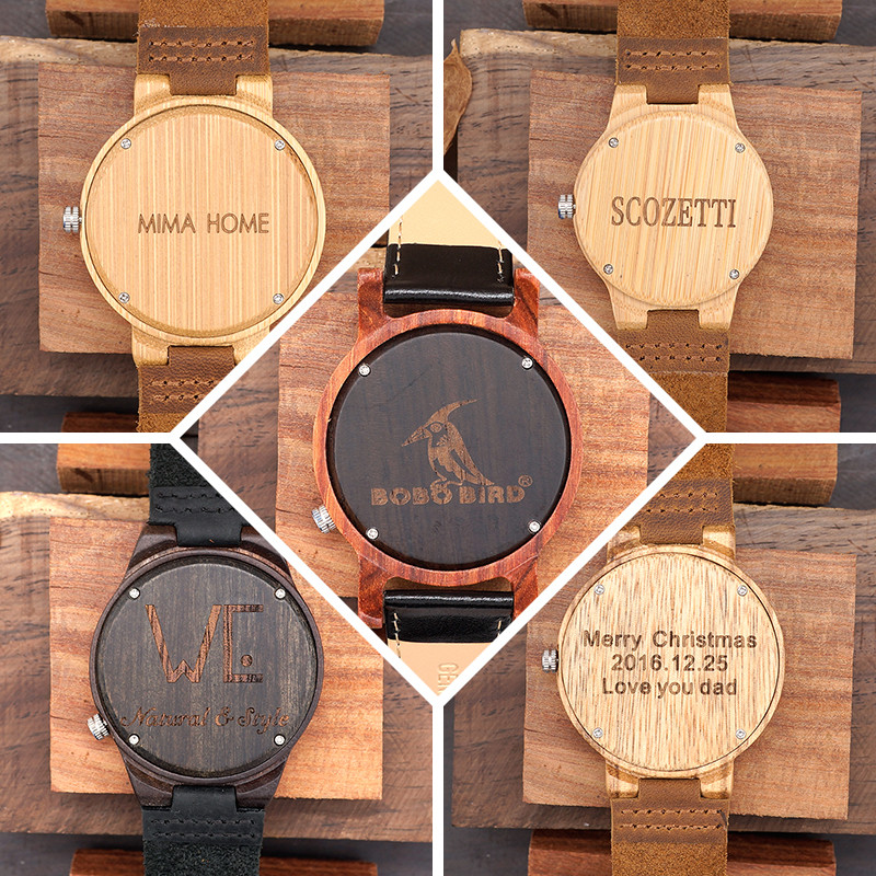 BOBO BIRD High Quantity Mens Wooden Quartz Watch with Leather Strap as Gift Customized Logo relojes hombre 17
