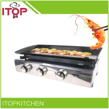 ITOP Gas BBQ Grill Gas Plancha Outdoor Shiny Stainless Housing LPG Three Circular Burners BBQ(China)