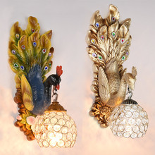 European retro wall lamp bedroom bedside lamp living room hotel project deluxe aisle staircase peacock French decorative led(China)
