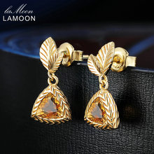 LAMOON 6mm 2ct Leaf 100% Natural Triangle Citrine 925 Sterling Silver Jewelry 14K Yellow Gold Plated Drop Earrings S925 LMEI009