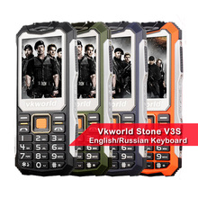 Russian Keyboard VKWorld Stone V3S 2.4 inch Waterproof Dropproof Dustproof Mobile Phone Dual LED Light FM Dual SIM Cell Phone(China)