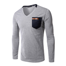 Men's Tops Tee 2017 Autumn new v neck long sleeve t shirt men fashion trends fitness T-shirt leather hit color pocket tee AQQ129(China)