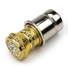 Luxury Aluminum Car Cigarette Lighter With Small Crystal Rhinestones Golden Auto Accessories HA10594(China)
