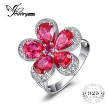 JewelryPalace Flower 5ct Created Red Ruby Cocktail Ring 925 Sterling Silver Ring Fashion Design Statement Ring for Women(China)