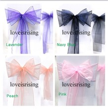 "23 Colors Chooses-25pcs 8"" (20cm) W x 108"" (275cm) L  sheer organza sash designed specially for your wedding Decor"