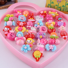 Wholesale 36pcs/set Mix Lot Animals Assorted Metal Baby Kids Girl Children's Cartoon Rings With Display Heart Box Christmas(China)