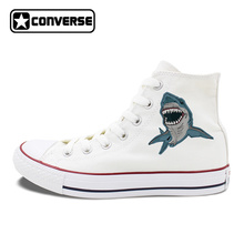 Fierce Shark Sea Animal Original Design Mens Womens Converse All Star Shoes Athletic White Black Canvas Sneakers