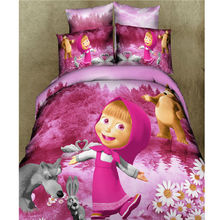 Home Textiles 100% Cotton 3D Bedclothes 4pcs Bedding Sets King Queen Red Girl Pink