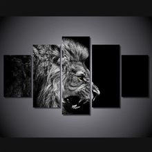 5 Pieces/set Home Decor HD Printed Lion White Black Painting Canvas Print Room Decor Print Poster Picture Painting On Canvas