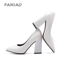 FAMIAO Super high heels shoes black white women pumps sexy point toe slip red wedding shoes thick heel party concise pump