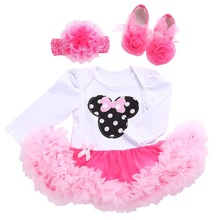 2016 New Long Sleeve Rhinestone Little Girls Dresses Headband Baby Shoes Set,Autumn Kid O-Neck Wedding Newborn Baby Girl Clothes(China)