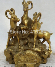 "Free Shipping 9"" Chinese Bronze Folk Fengshui Zodiac Year three Sheep Goat Statue sculpture"