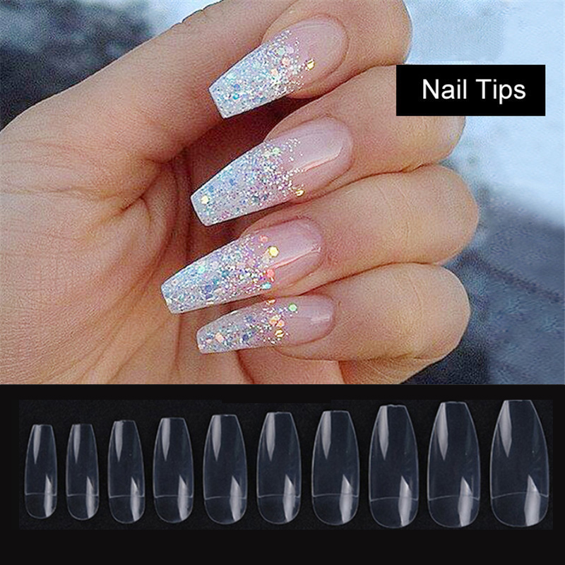 500PCS/OPP Professional Acrylic Fake Ballerina Half Nail Tips French Coffin  False Nails Artificial DIY Tips White/Beige/Clear