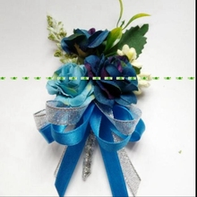 8pcs Fabric Prom Bride Groom Artificial Rose Boutonniere Corsage Flower Wedding Beach Church Decor Blue Bw003(China)