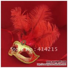 13 Inch Free Shipping Beautiful Red And Gold Venetian Mask, Italian Mask , PVC Party Mask (A009)